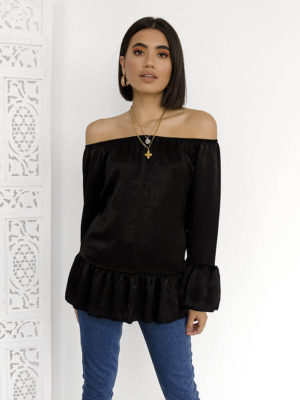 Off Shoulder Satin Blouse-ΜΑΥΡΟ