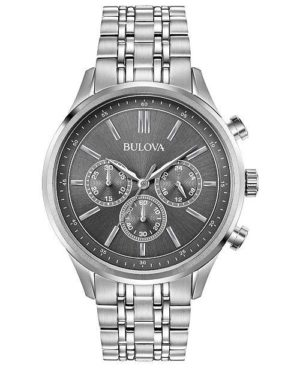 Bulova Mens Chronograph – 96A209 Silver case with Stainless Steel Bracelet