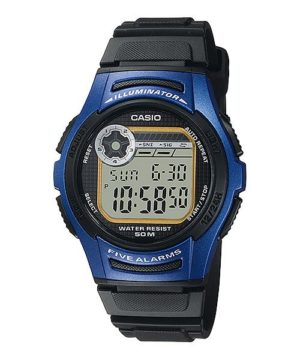 CASIO Collection – W-213-2AVES, Black case with Black Rubber Strap