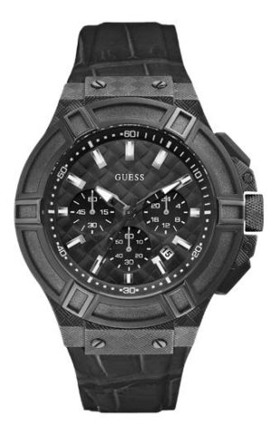 GUESS Chronοgraph – W0408G1 Black case, with Black Leather Strap