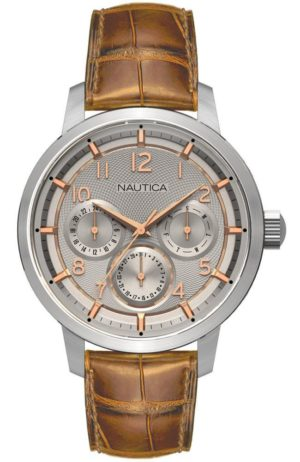 NAUTICA NTC15 Multi II – NAD13544G , Silver case, with Brown Leather Strap