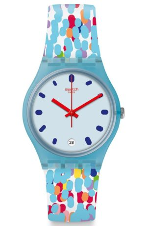 SWATCH Prikket – GS401 Light Blue case with Multicolor Rubber Strap