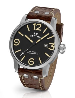 TW STEEL Maverick – MS1 Silver case, with Brown Leather Strap