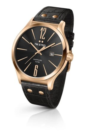 TW STEEL Slim Line – TW1303 Rose Gold case, with Black Leather Strap