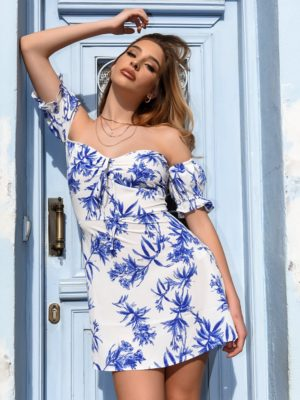 Influence Φόρεμα Mini Off Shoulder Λευκό – Be Flower Guest