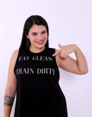 Αμάνικη Μπλούζα Eat Clean Train Dirty, Plus Size
